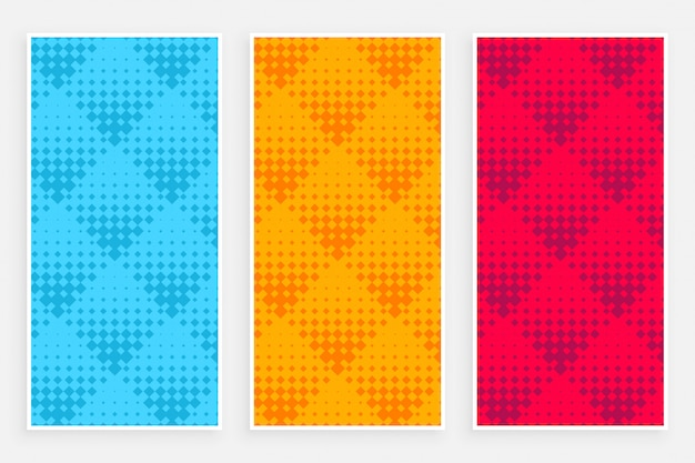 Abstract halftone pattern banners in different colors Free Vector