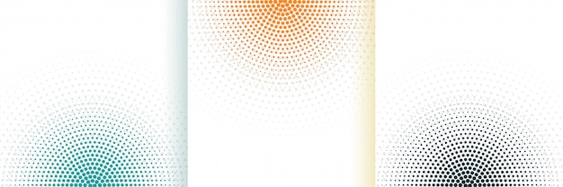 Abstract halftone white background set in three colors Free Vector