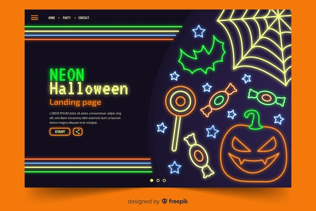 Abstract halloween elements in neon lights Vector | Free
