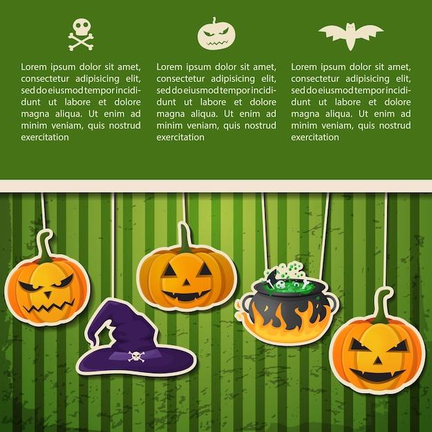 추상 할로윈 휴일 인사말 포스터 텍스트와 교수형 호박 마녀 모자 가마솥 녹색 배경에 무료 벡터