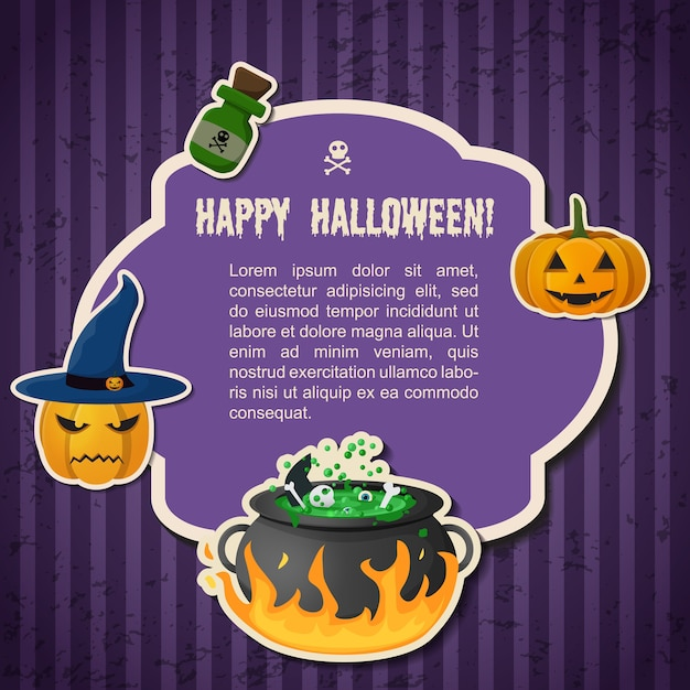 Abstract halloween traditional greeting poster with text in frame pumpkins witch hat cauldron and potion bottle Free Vector