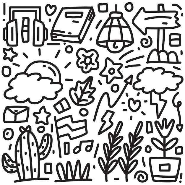 Abstract hand drawing doodle Premium Vector