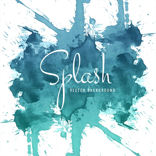 abstract hand drawn blue watercolor splash background Free Vector