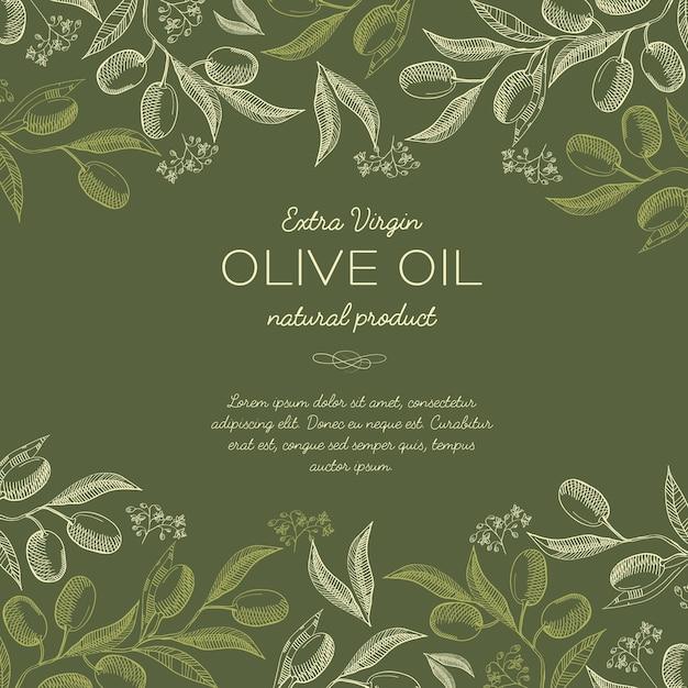 Абстрактная рисованная ботаническая с оливковыми ветвями деревьев в винтажном стиле и зеленых тонах Бесплатные векторы