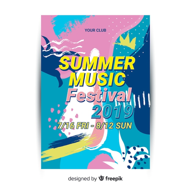 Abstract hand drawn festival poster template Free Vector