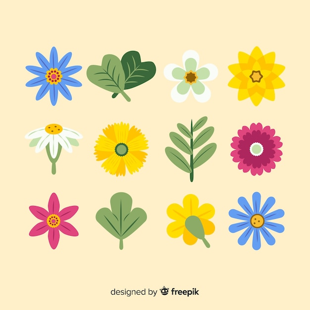 Abstract hand drawn flowers and leaves Free Vector