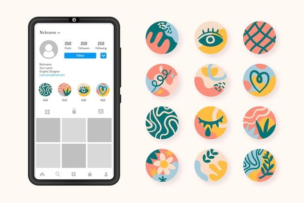 Collezione di punti salienti di instagram disegnati a mano astratti Vettore gratuito
