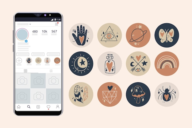 Abstract hand drawn instagram highlights Premium Vector