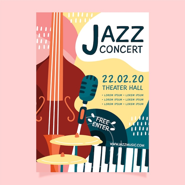 Abstract hand drawn jazz music flyer template Free Vector