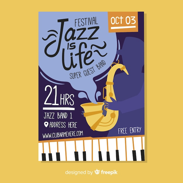 Abstract hand drawn jazz poster template Free Vector