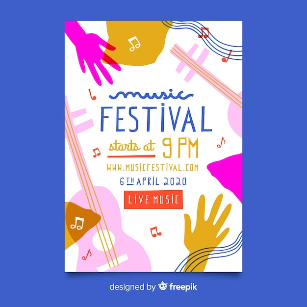 Abstract hand drawn music festival poster Free Vector