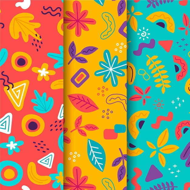 Abstract hand-drawn pattern collection theme Free Vector