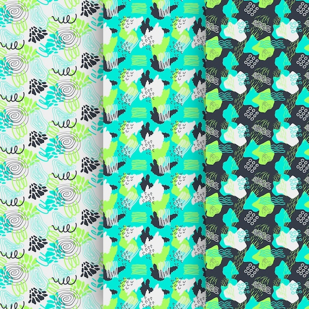 Abstract hand drawn pattern collection Free Vector