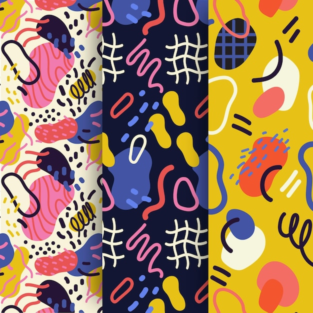 Abstract hand drawn pattern collection Premium Vector