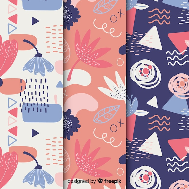 Abstract hand drawn pattern set Free Vector