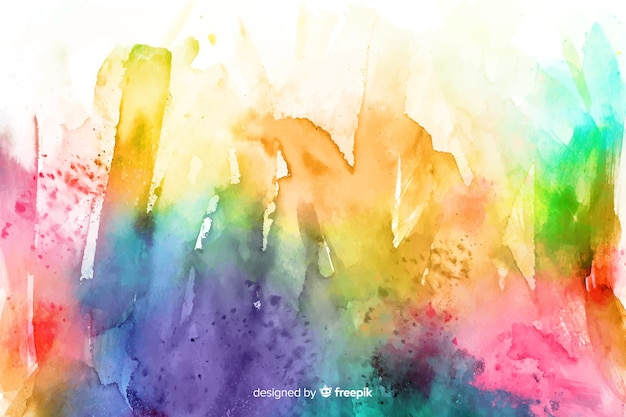 Abstract hand-drawn rainbow lines background Premium Vector