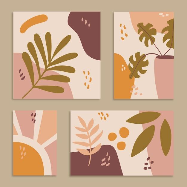 抽象的な手描きの形はコレクションをカバーしています 無料ベクター