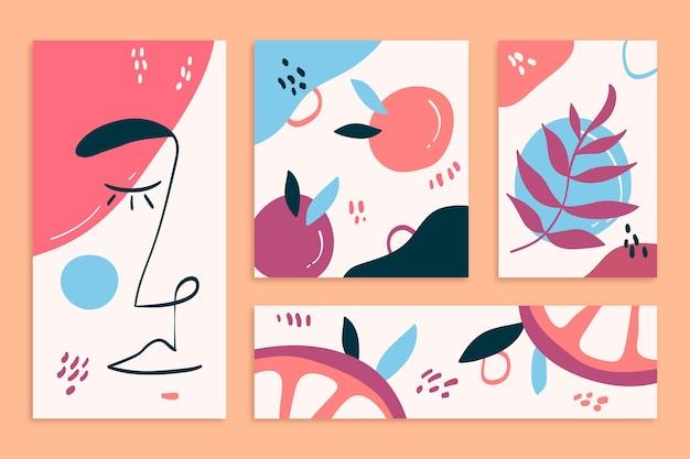 抽象的な手描きの形状カバーセット 無料ベクター