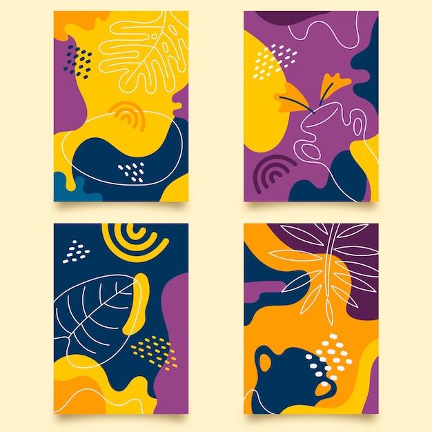Абстрактные рисованной формы шаблон обложки набор Бесплатные векторы