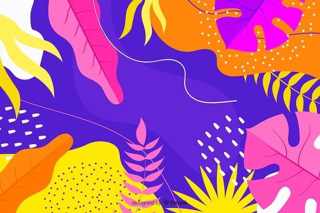 Abstract hand drawn tropical background Free Vector
