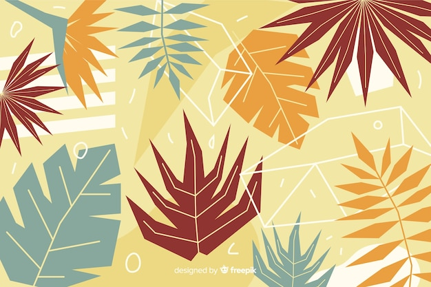Abstract hand drawn tropical leaves background Free Vector