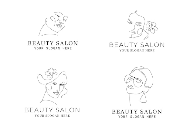 Abstract hand-drawn woman logo template collection Free Vector
