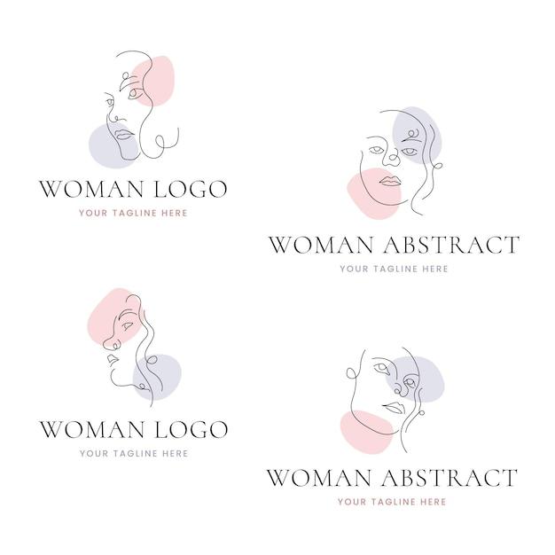 抽象的な手描きの女性のロゴのテンプレートコレクション 無料ベクター