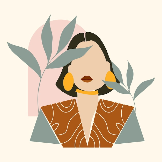 Abstract hand drawn woman portrait illustrated Free Vector