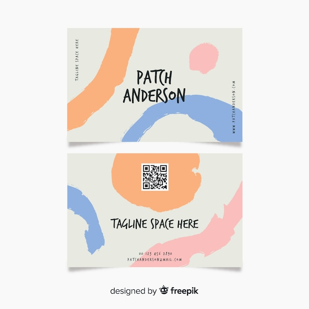 Abstract hand painted business card company Free Vector