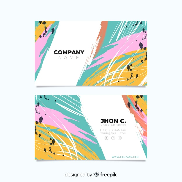 Abstract hand painted business card template Free Vector