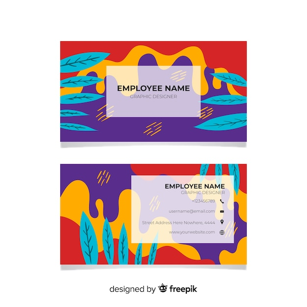 Abstract hand painted business card Free Vector