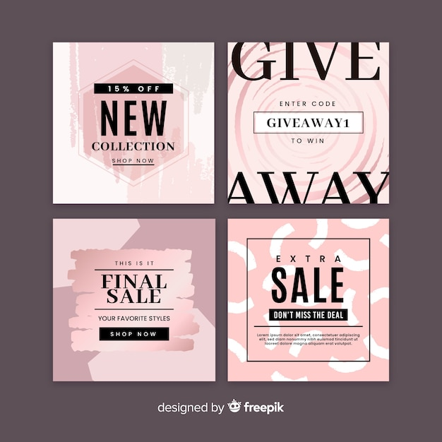 Abstract hand painted sale instagram post collection Free Vector