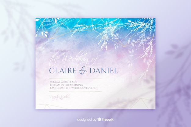 Abstract hand painted wedding invitation template Free Vector