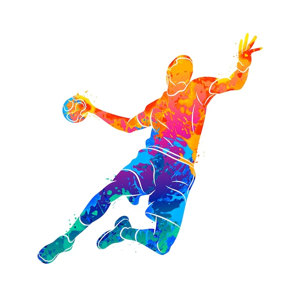 Abstract handball player jumping with the ball from splash of watercolors.  illustration of paints Premium Vector