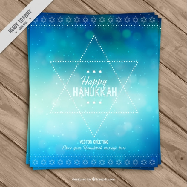 Abstract hanukkah greeting card with bokeh\ effect