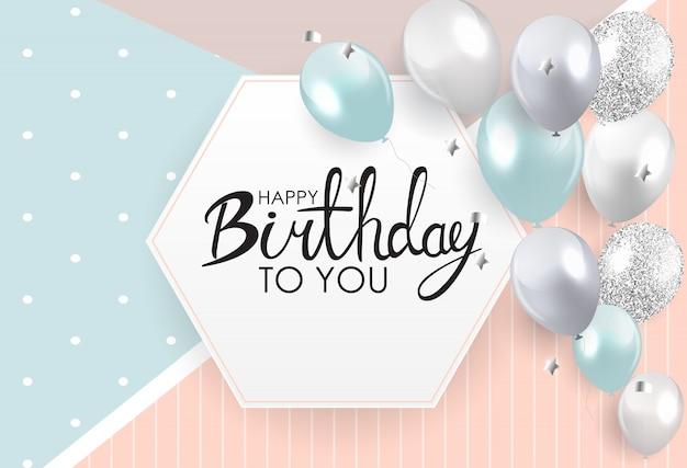 Абстрактный шаблон поздравительной открытки с днем рождения Premium векторы