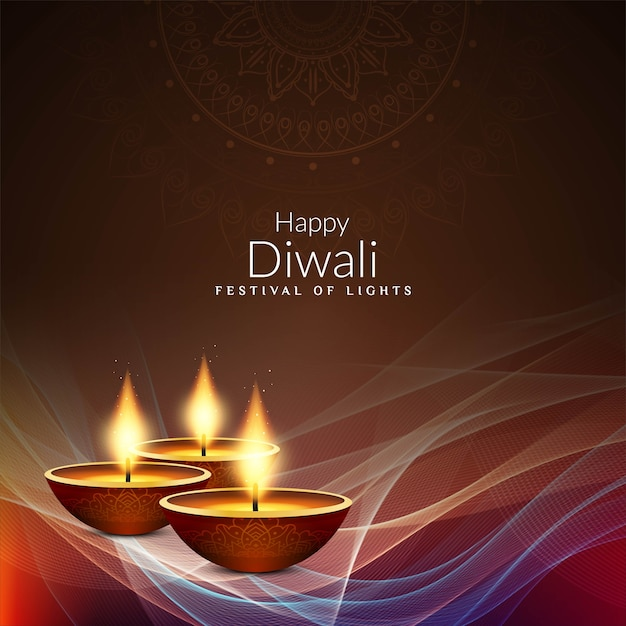 Abstract Happy Diwali Decorative Background Vector Free
