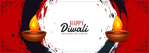 Abstract happy diwali indian festival banner Free Vector