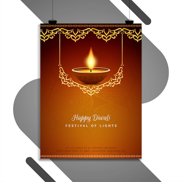 Abstract Happy Diwali Religious Flyer Template Free Vector