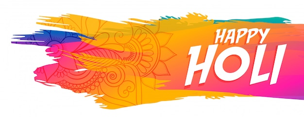 Abstract happy holi festival colorful banner Free Vector