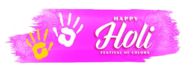 Abstract happy holi pink watercolor background Free Vector
