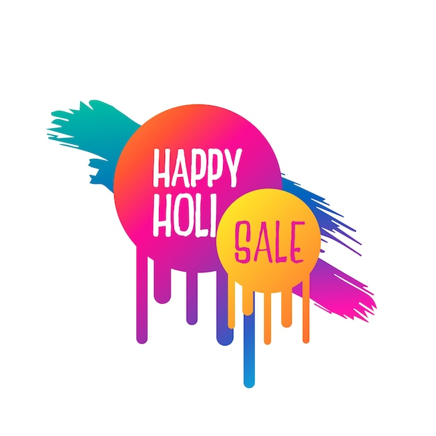 abstract happy holi sale banner design Free Vector
