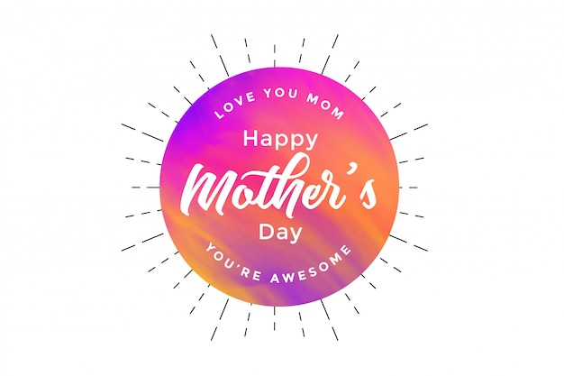 Abstract happy mother's day card design Free Vector