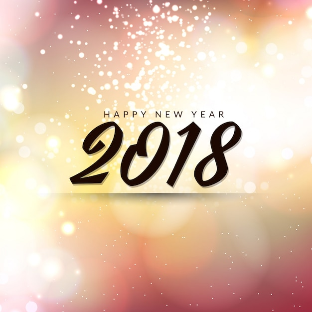 Abstract Happy New Year 2018 stylish background Free Vector