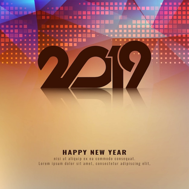 Abstract Happy New Year 2019 modern background Free Vector