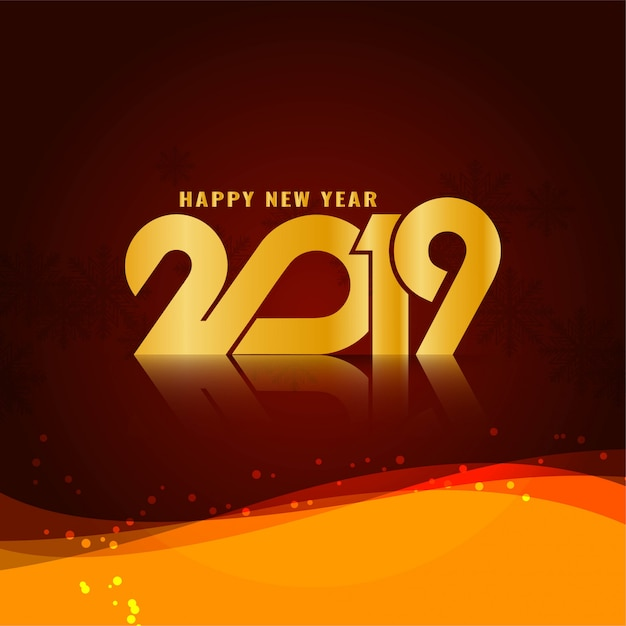 Abstract happy new year 2019 stylish wavy background Free Vector