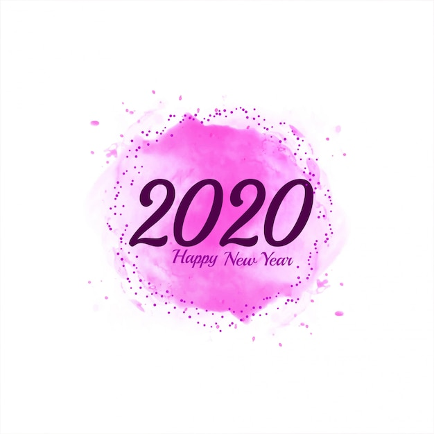 Abstract happy new year 2020 pink background Free Vector