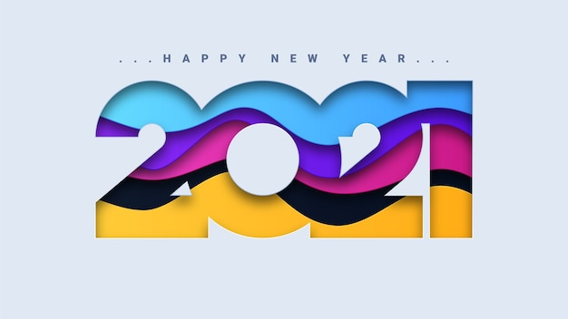 Abstract happy new year 2021 background Premium Vector