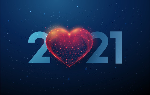 Premium Vector Abstract Happy New Year Greeting Card With Heart Shape
