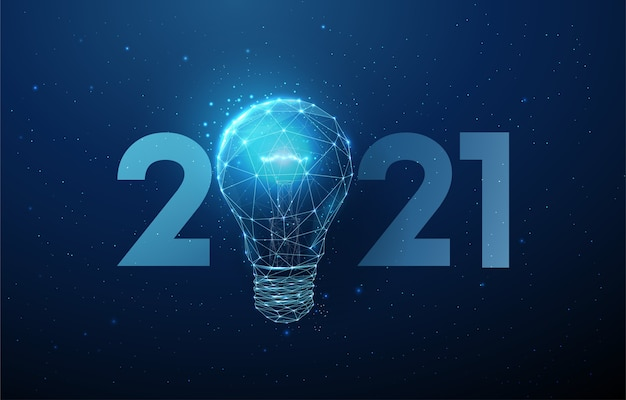 Abstract happy new year greeting card with light bulb. Premium Vector